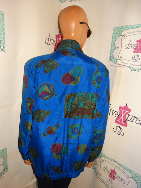 Vintage Regina Porter Royal Blue Zodiac Sign Silk  Bomber Jacket L