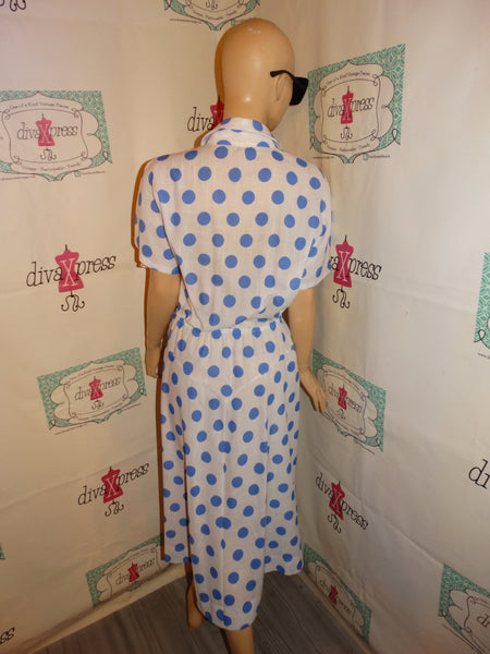 Vintage White /Blue Polka Dot Dress Size S