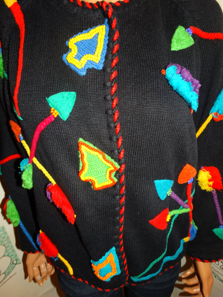 Vintage Michael Simon Colorful Sweater Cardigan Size XL