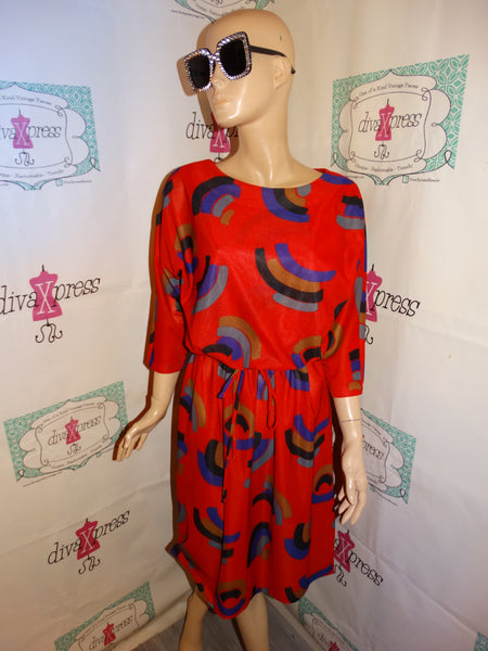 Vintage Signor Red Colorful Dress Size M