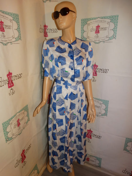 Vintage White/Blue Colorful 2 Piece Skirt Set Size L