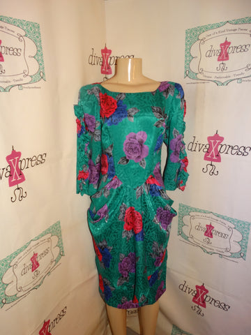 Vintage Secrets Green Floral Dress Size M