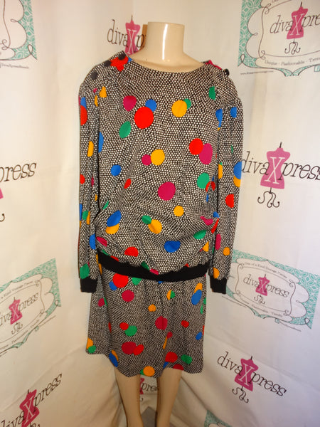 Vintage Top Notch Colorful 2 Piece Skirt Set Size 2x