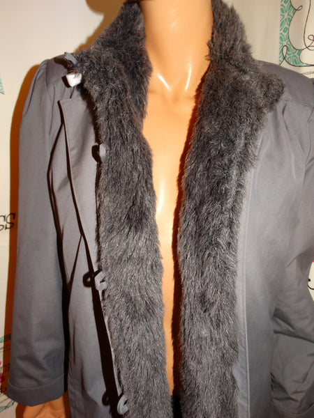 Vintage London Fog Gray Faux Fur Lined Coat Size S