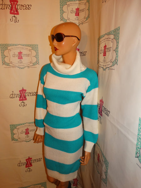 Vintage Milano TEal/White Striped Sweater Dress Size M