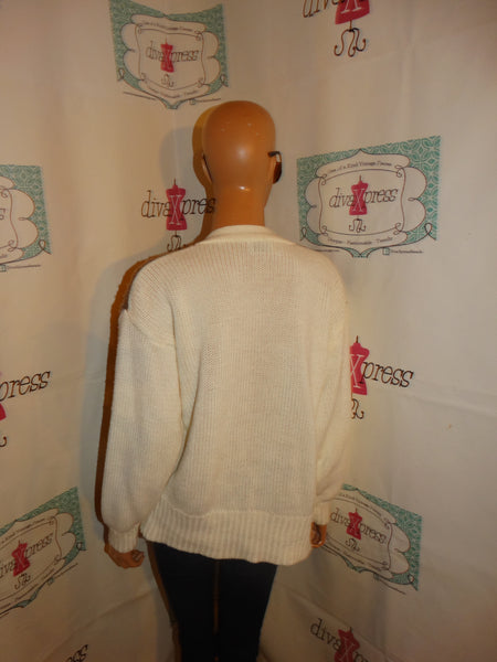Vintage Spice of Life Cream Brown Patch Sweater Size M