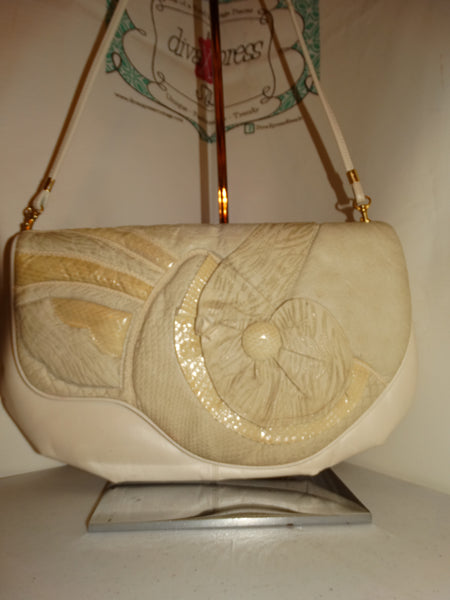Vintage Leather Snake Skin Clutch Purse With Strap Size L