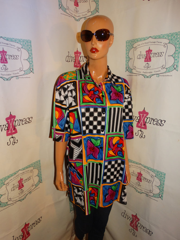 Vintage Top Notch Colorful Blouse Size 2x