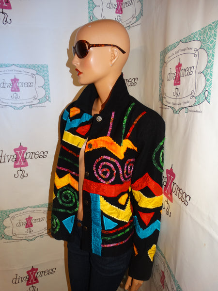 Vintage Revrso Black Colorful Jacket Size L