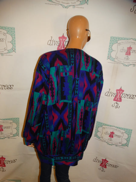 Vintage Sure Black/White Detail Blazer/Jacket Size L