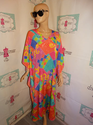 Vintage Pink colorful Long Kimmo Dress Size 2x