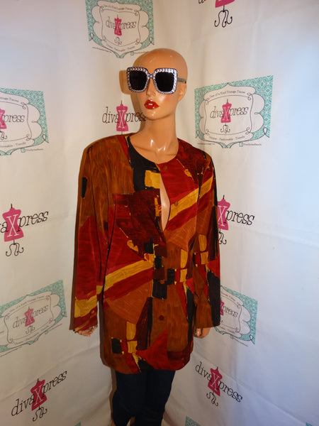 Vintage Marilyn B Burgundy Tan Blouse Size 2x