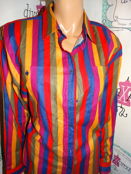Vintage Witts End Colorful Stipe Top Size L