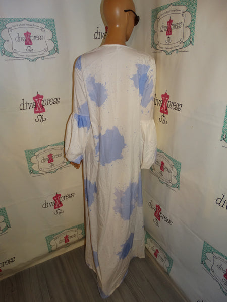 White Blue Long Duster Size M