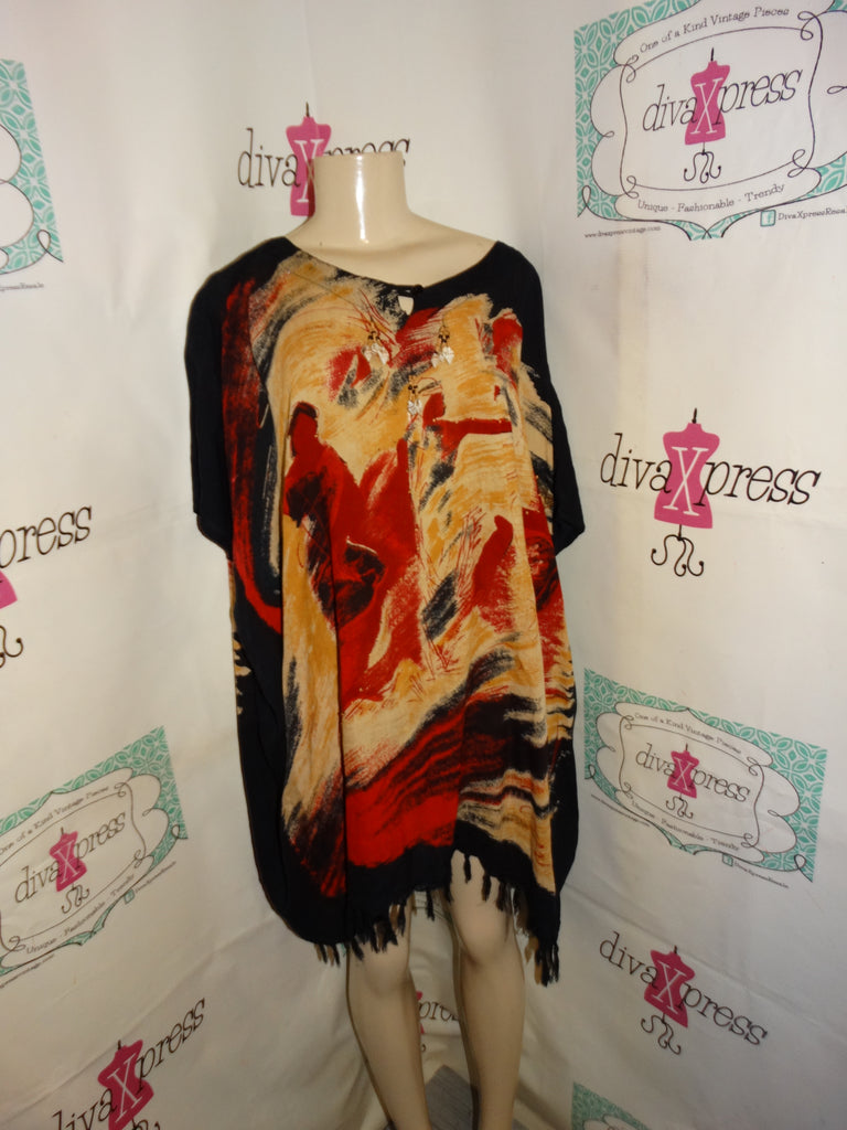 Vintage the African Scene Black/Tan Top Size 2x