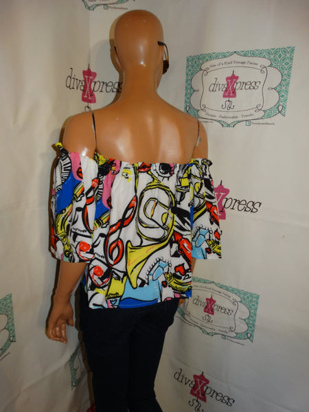 Vintage OFF Shoulder Face Crop Top Size  M- XL