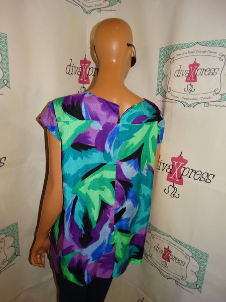 Vintage Purple/Green Floral Top Size XL