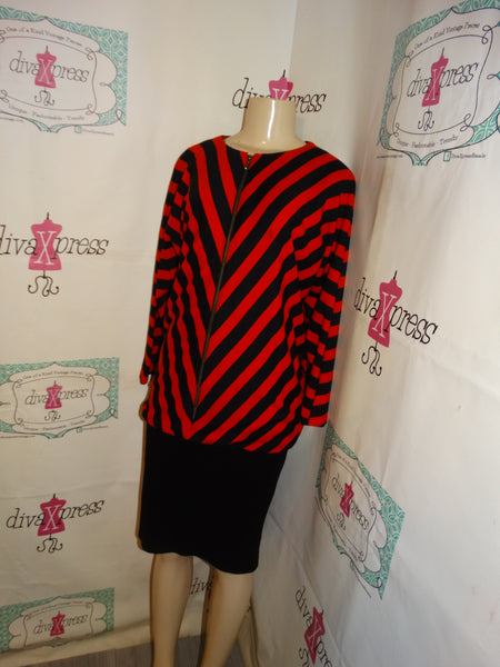 Vintage Yanageya Black/Red Stripe Sweater Style Dress Size L