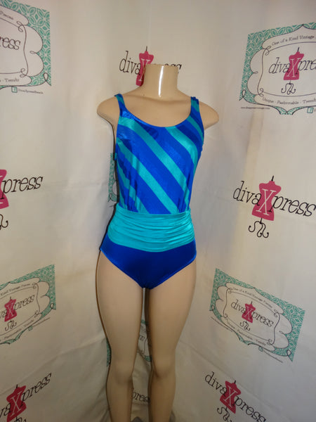 Vintage Robby Len Blue/Teal Bathing Suit Size M
