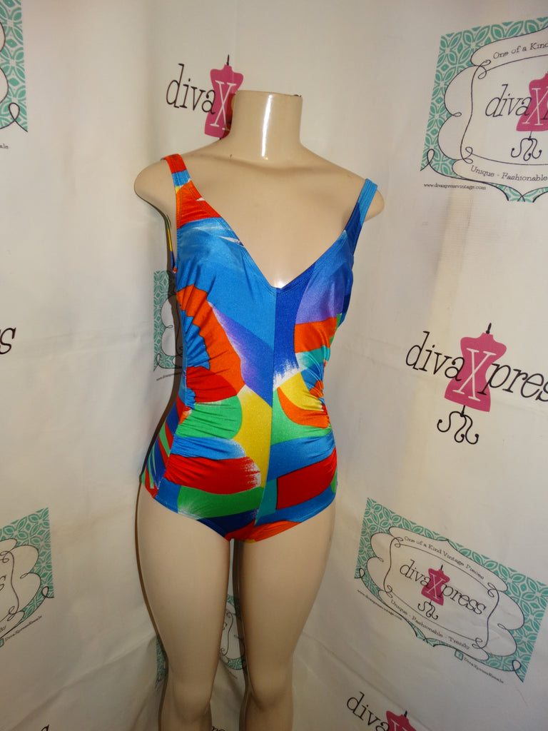 Vintage Ste JAn Marie Neon Colorful Bathing Suit Size M