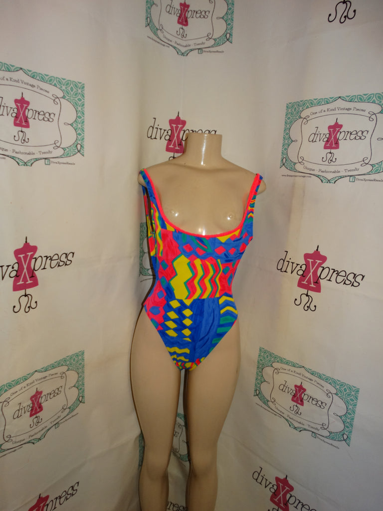 Vintage Tonga Neon Colored one Piece Bathing Suit Size S