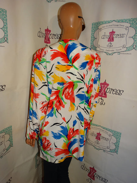 Vintage Susan Garver White Colorful Blazer New With TAGs Size M/L