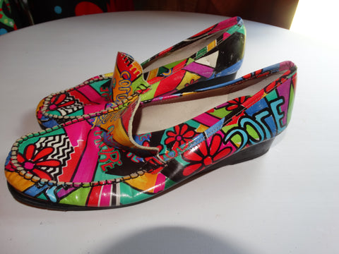 Vintage Colorful Leather Loafers Size 9 or 39