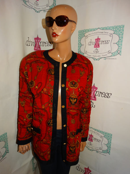 Vintage Leslie Fay Red Chain Jacket Size XL