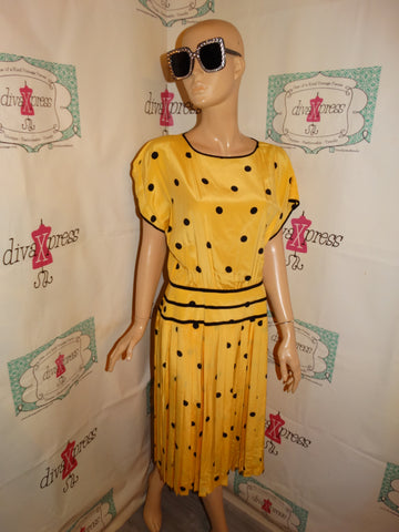 Vintage Nipon Boutique Yellow Polka Dot Dress Size M