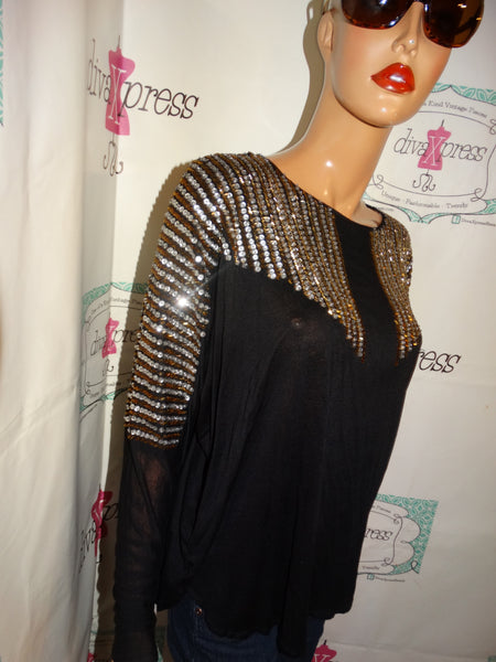 Vintage Thumbs Up Black Sequins Top Size XL