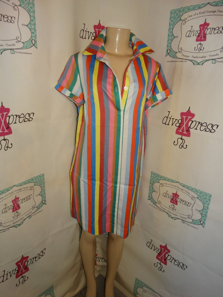 Vintage White Colorful Stripe Dress Size M