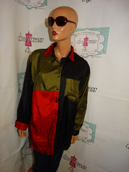 Vintage Laura Mae Black/REd/Green Color-block Blouse Size L