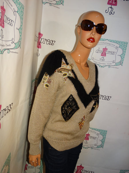 Vintage Lady Of California Tan/Black Sweater Size M