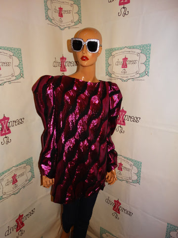 Vintage Pink/Black Metallic High Shoulder Blouse Size 1x
