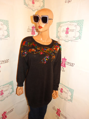 Vintage Trimmings Black Sequins Sweater Size 1x