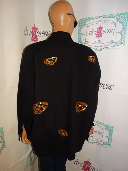 Vintage Modi Black/Tiger Sequins Jacket Size 2x
