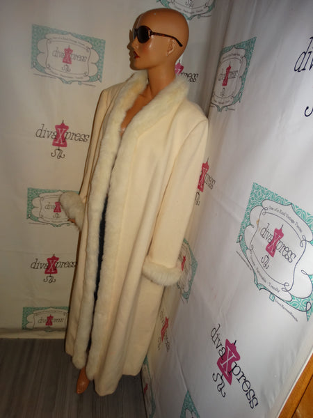 Vintage Marivin Richards Cream Fox  Collar Coat Size 1x