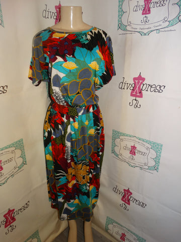 Vintage The Village Shop Colorful 2 Piece Skirt Set Size L