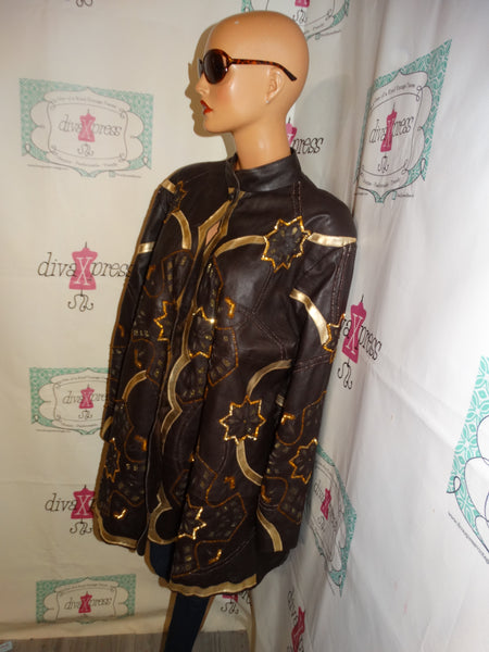 Vintage Leather 9000 Brown/Gold Leather Jacket Size 2x