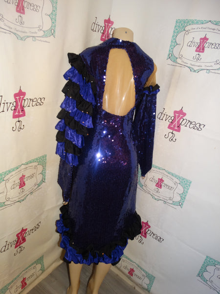 Vintage Purple and Black Sequins/Ruffle Dress/Dress Size M