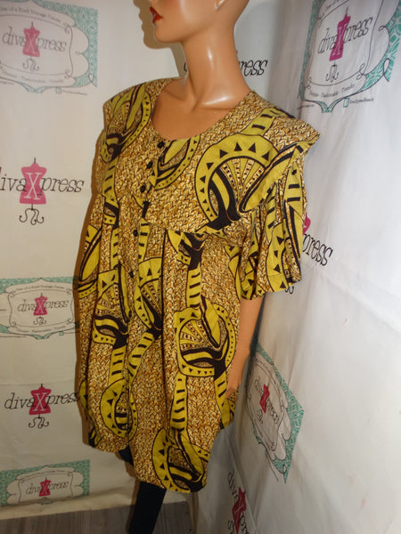 Vintage The African Village Green/Brown Top Size 2x