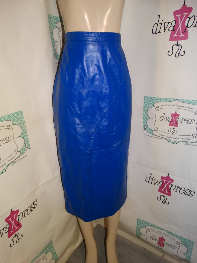Vintage G I LL Royal Blue Leather Skirt Size L