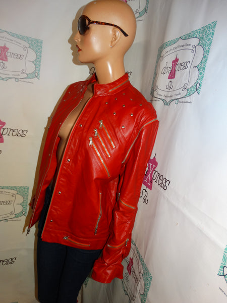 Vintage LC Red LEAther Zipper Jacket Size XL