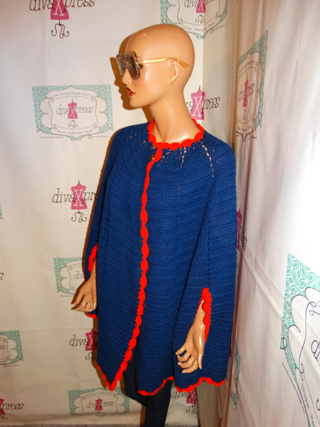Vintage Red/Blue Crochet Poncho Size 2x