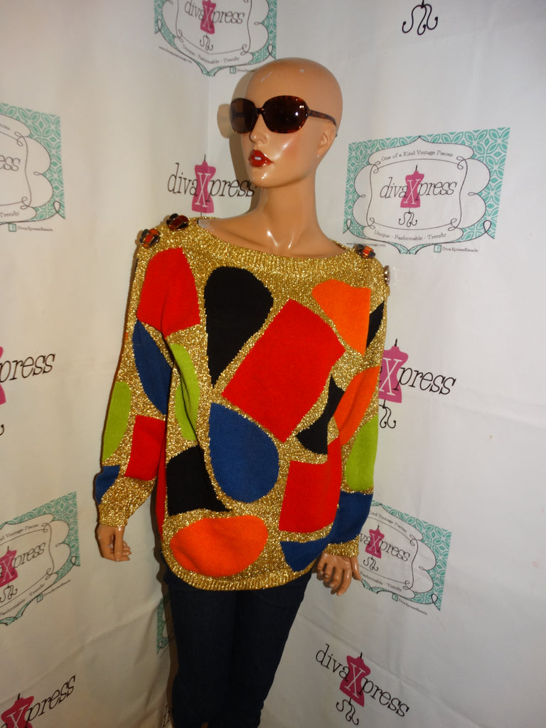Vintage Spree International Gold Colorful Sweater Size 1x