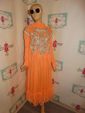 Vintage Peach/ Silver Heavy Lace Beaded Dress With XXL Scarf Size M