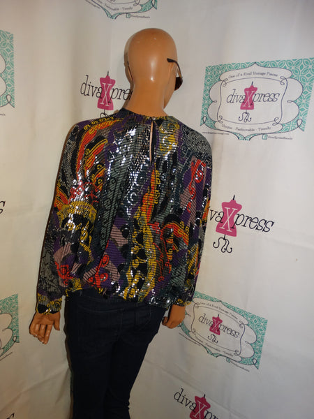 Vintage Ron Kline Black Sequins Colorful Top Size 1x