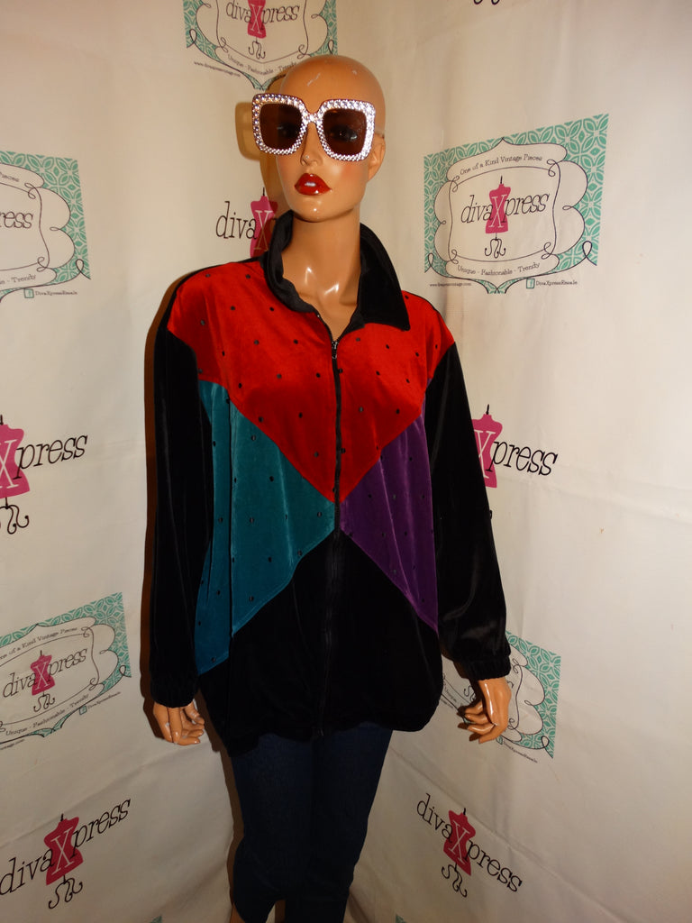 Vintage Teddi Woman Black Colorful Jacket Size 2x
