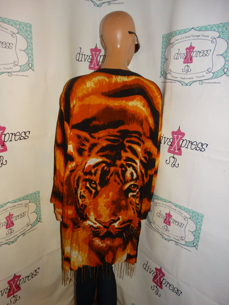 Vintage MeItu Magic Black Tiger Blouse Size 3x