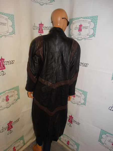 Vintage Leather Fox Black/Brown Leather Coat Size M